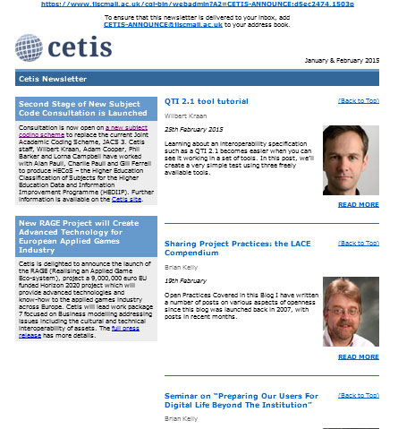 Cetis newsletter January & February 2015